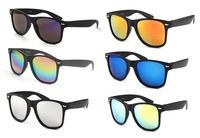 Reflective Black Superfine Frosted Frame Colorfull Mirror Lens UV400 Sunglasses Wayfarer Eyewear