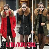 Hot Sale ! 2014 Europe L-3XL British Style Big Fur Hooded Thick Coats Women Winter Coats   TSP1609