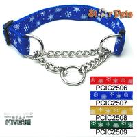 "Nylon Snow Print Dog Pet Choke Chain Training Collar All Colors 16-29"" Adjustable 1.0"" Wide"