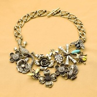 2014 Vintage Flower Choker Necklace Statement Necklace  Clothes Accessories Free Shipping (Min Order $20 Can Mix)