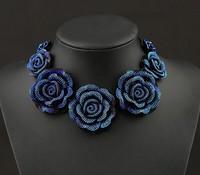 2014 Fashion Design Vintage Crystal Black Rose Short Lace Necklaces & Pendants Women Statement Choker Necklaces