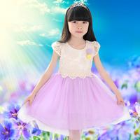Girls princess dress children wear short-sleeved lace dress girl 2014 summer new clothes 12 14years old kids
