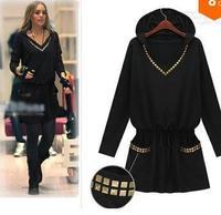 Winter Dress Pullover S-XXXXL New Fashion 2014 Hot Sale Women Casual Dress Blouse Spring Autumn Sexy Loose Plus Size Dress Black