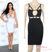 Free shipping 2014 women designer sexy hollow-out spaghetti straps bandage dress clubwear