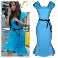 women summer dress 2014 New Arrival Blue Party Dresses for Women Sexy desigual dresses