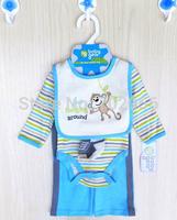 4 pcs set Baby long Sleeve Bodysuits pant bibs socks infant boy Girl Clothes 12sets/lot#3683