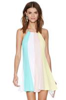 Plus Size XXL New Summer Dress 2014 Women Casual Dress Candy Color Striped Halter Neck Mini Dresses Adjustable shoulder straps