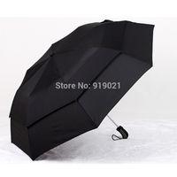 Double-deck women's men's umbrella withstand wind Auto open umbrella Black