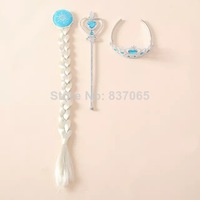 Frozen Crown Elsa Cosplay Crown Frozen Tiara Hair Accessories Crown + Wig +Magic Wand frozen hair accessories