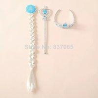Princess Crown Cosplay Crown Tiara Hair Accessories Crown + Wig +Magic Wand  hair accessories