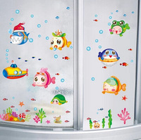 Free Shipping 50*70cm Creative Decor Removable sticker for kids many lovely fish Wall Sticker for bathroom DDW-QT008