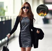 Foreign trade fashion Korean winter dress fitting long sleeved splicing bottom dress women's dress code