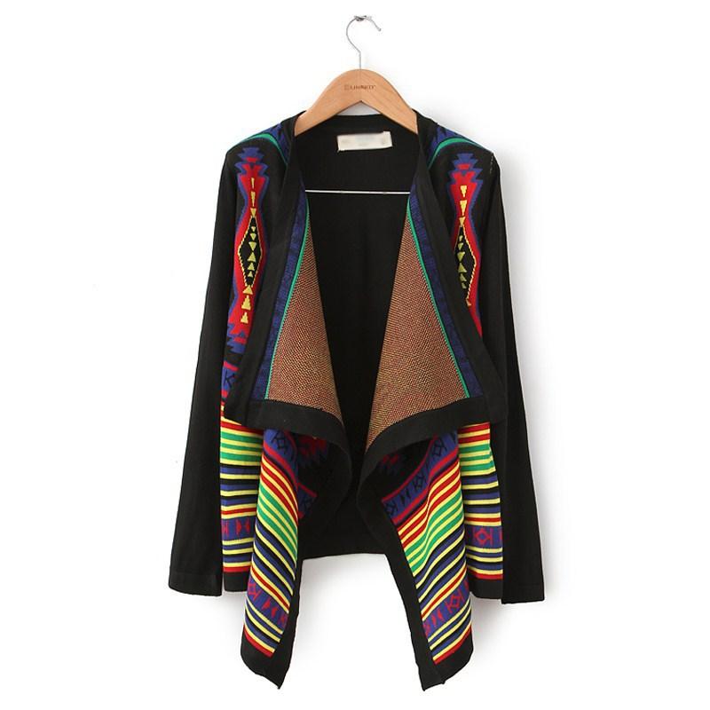 2014 New Fashion Europe Women Elegant Vintage Striped Irregular Knitted Cardigans Stylish Casual Slim Sweater Coat Size S M L