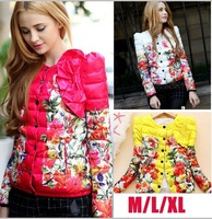 Hot Sale ! 2014 Winter New Arrival  Europe Fashion Floral Winter Coats Women Winter Coats   TSP1612