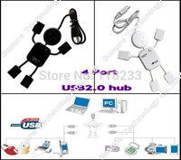 free shipping black white High Speed 480 Mbits Mini 4 Port USB 2.0 Hub 40cm Cable Length USB Port For Laptop PC Computer Laptop