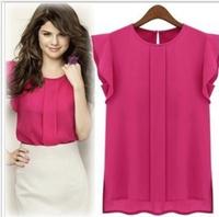 2014 New Hot Europe Fashion Short Sleeve Chiffon Women Blouses And Shirts O-Neck Solid Shirt Ladies Sexy Lace Shirt [70-1339]