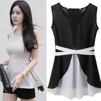 Korean Fashion Women Sleeveless Blouse Transparent Irregular Chiffon Blouse Unique Design Back Split Sexy Long Women Shirt 6991