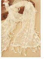 wholesale 10pcs/lot Women's 8009vivi sweet hollow retro tassel lace embroidery scarf shawl