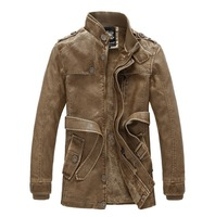 Casual PU leather jacket Long style Stand collar Trench coat Upset Men clothing Free-shipping 2014 Winter Plus size