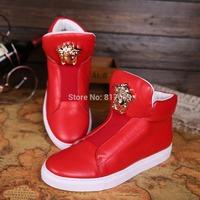 2014 New Arrival Western Brand Style Gold Medusa Design High-top Men Sneaker Red Black White Sneakers for Men