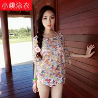 2014 new  swimsuit bikini  set 3 pcs bikini-style floral dress  small chest gather  vintage bathing suit beach triangl  women