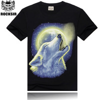 2014 plus size Men's sports personality wolf pattern cotton short-sleeved t-shirt and creative brand tide men's wholesale 3Dt