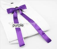 Women Girl Sailor School Pre-tied Satin Thin Bowtie Bow Neck Tie Purple