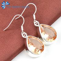new 2014 water drop shape  Morganiteearings women for  wedding jewelry silver plated