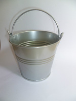 silver baby shower chocolate bucket  wedding candy bucket  tin pail candy box 12pcs