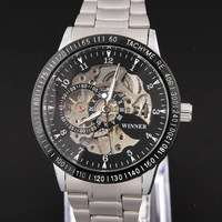 WINNER Men Black Dial Skeleton Automatic Self-wind Mechanical Wrist Watch Stainless Steel Band Wholesale Price Nice Gift A373