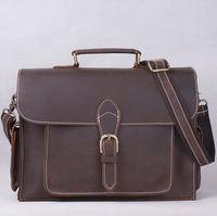 2014 New head layer Crazy Horse Leather Shoulder Bag Vintage briefcase men messenger bags business men bag leather man 2014