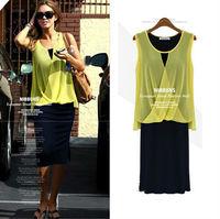 fashion women Chiffon dress two pieces Casual dress Bohemian sleeveless dress Plus size Size S-XXL Free Shipping LJ953