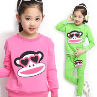 Free shipping New 2014 Spring Autumn Baby Girls Children Clothing Sets Sweatshirt + Trousers for 105~155cm for Kids Sports Suits