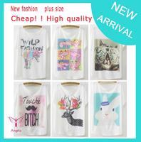 women clothing 2014 new fashion t shirt women tee tops for women white cotton tee animal cartoon print t-shirts TS-067