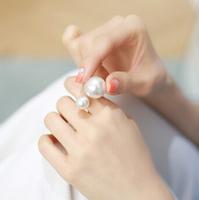 Top Quality New 2014 Big Cute Retro Vintage Korean Lady Pearl Ring R-053