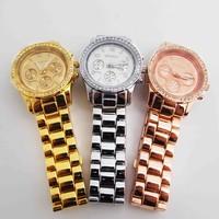 Geneva Wholesale Men women wristwatches ladies rhinestone fashion quartz watch Women watches Men SQW145