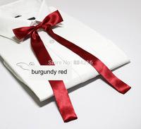 Women Girl Sailor School Pre-tied Satin Thin Bowtie Bow Neck Tie Burgundy Red
