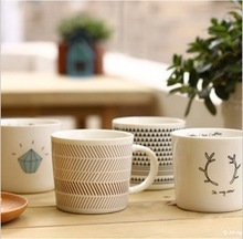 Zakka cartoon style striped/triangle/diamond/antlers pattern breakfast milk cup/mug