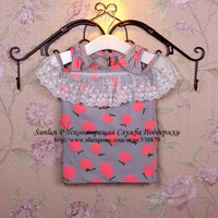 2014summer cotton lace collar bow shoulder sleeve t shirt for girls,short sleeve t shirt for children cute fruit printed WLC-012