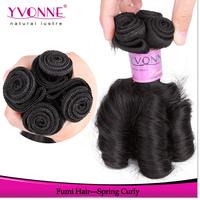 4 Bundles Spring Curly Virgin Hair,Unprocessed Fumi Hair Weave,100% Remy Human Hair,Aliexpress Yvonne Hair,Natural Color 1B