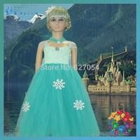 luxury New arrival girl movie frozen Queen princess Elsa dress free shipping Hotsale size 100 110 120 130 cm