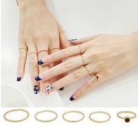 Unique Top Quality New 2014 Fashion Cute Retro Vintage Slim Golden Plating Ring 5 pcs/set R-055