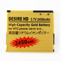 Hot sale 3.7V 2450mAh High Capacity Gold Battery Mobile Phone Replacement Battery For HTC Desire HD G10 A9191