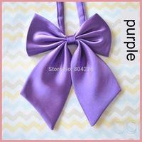 Women Girl Sailor School Pre-tied Satin Bowtie Bow Neck Tie Cravat purple