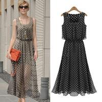 Ladies Maxi Dress Casual Polka Dot Dress Chiffon Big Plus Size Long Dresses For Women 2014 Elegant Vestidos Longos XXXL Clothing