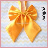 Women Girl Sailor School Pre-tied Satin Bowtie Bow Neck Tie Cravat yellow