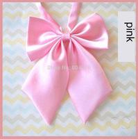 Women Girl Sailor School Pre-tied Satin Bowtie Bow Neck Tie Cravat pink