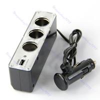 Free Shipping Discount USB 3 way Car Cigarette Lighter Socket Splitter Charger