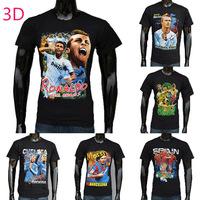 100%Cotton Men Short Sleeve T-Shirt Adult 3D Football Star Pattern Summer Tops Free Shipping 1PCS