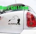 "Free Shipping,buy 2 get 1 free,2014 new car styling,waterproof ""Go Fishing "" car sticker for Kia Rio,BMW E46 car covers"